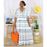 Robe longue été femme grande taille ethnique SHIVA blanche Robe longue grande taille