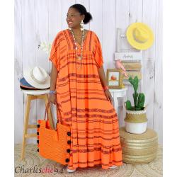 Robe longue été femme grande taille ethnique SHIVA orange Robe longue grande taille