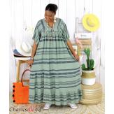 Robe longue été femme grande taille ethnique SHIVA kaki Robe longue grande taille