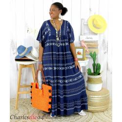Robe longue été femme grande taille ethnique SHIVA bleu marine Robe longue grande taille