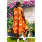 Robe été coton lin grande taille évasée légère SUMMER orange Robe été grande taille