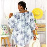 Tunique blouse été coton lin grandes tailles KALI blanche Tunique femme grande taille