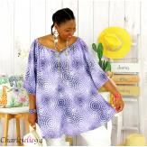 Tunique blouse été coton lin grandes tailles KALI lilas Tunique femme grande taille