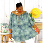 Tunique blouse été coton lin grandes tailles KALI kaki Tunique femme grande taille