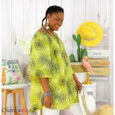 Tunique blouse été coton lin grandes tailles KALI jaune Tunique femme grande taille