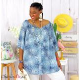 Tunique blouse été coton lin grandes tailles KALI bleu jean Tunique femme grande taille