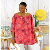 Tunique blouse été coton lin grandes tailles KALI corail Tunique femme grande taille