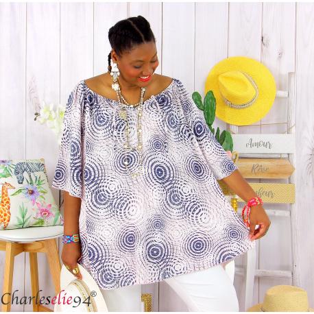 Tunique blouse été coton lin grandes tailles KALI rose Tunique femme grande taille