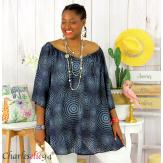 Tunique blouse été coton lin grandes tailles KALI marine Tunique femme grande taille