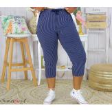 Pantalon 7/8 pantacourt été femme grande taille stretch FAME bleu marine Pantacourt femme