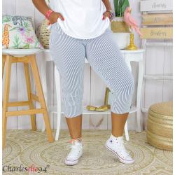 Pantalon 7/8 pantacourt été femme grande taille stretch FAME blanc Pantacourt femme