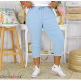 Pantalon 7/8 pantacourt été femme grande taille stretch FAME bleu jean Pantacourt femme