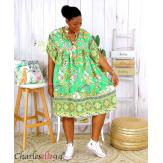 Robe tunique coton grande taille été bohème HELLO verte Robe tunique femme grande taille