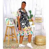 Robe tunique coton grande taille été bohème HELLO noire Robe tunique femme grande taille