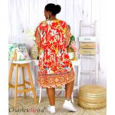 Robe tunique coton grande taille été bohème HELLO rouge Robe tunique femme grande taille