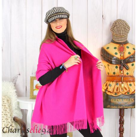 Étole châle laine cachemire mixte hiver STELLA Fushia Écharpe cachemire femme