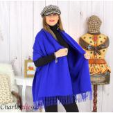 Étole châle laine cachemire mixte hiver STELLA bleu royal Écharpe cachemire femme