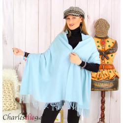 Étole châle laine cachemire mixte hiver STELLA bleu ciel Écharpe cachemire femme