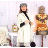 Étole châle laine cachemire mixte hiver STELLA écru Écharpe cachemire femme