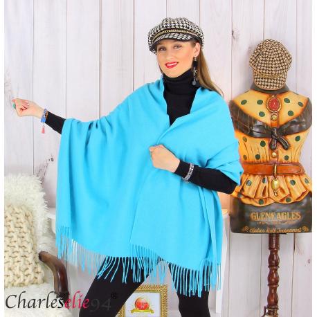Étole châle laine cachemire mixte hiver STELLA turquoise Écharpe cachemire femme