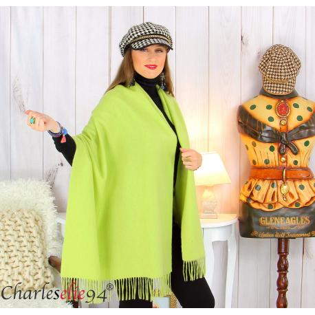 Étole châle laine cachemire mixte hiver STELLA vert anis Écharpe cachemire femme
