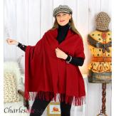 Étole châle laine cachemire mixte hiver STELLA bordeaux Écharpe cachemire femme