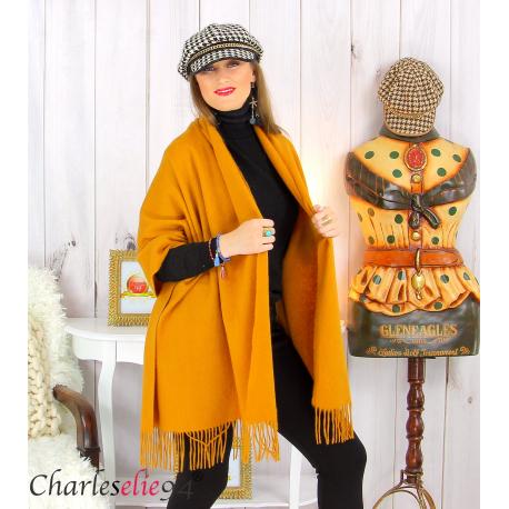 Étole châle laine cachemire mixte hiver STELLA moutarde Écharpe cachemire femme