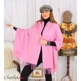 Étole châle laine cachemire mixte hiver STELLA rose Écharpe cachemire femme