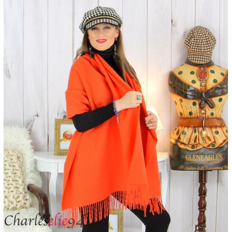 Étole châle laine cachemire mixte hiver STELLA orange Écharpe cachemire femme