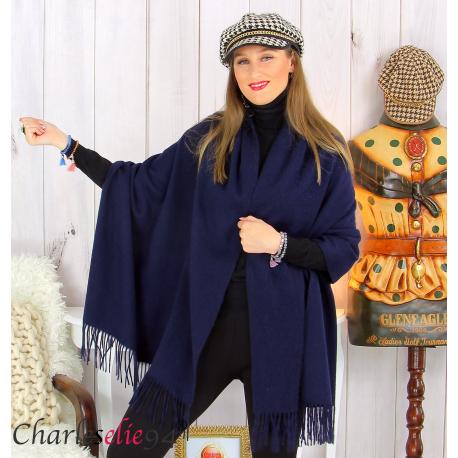 Étole châle laine cachemire mixte hiver STELLA bleu marine Écharpe cachemire femme