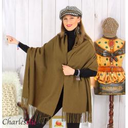 Étole châle laine cachemire mixte hiver STELLA kaki Écharpe cachemire femme