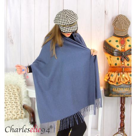 Étole châle laine cachemire mixte hiver STELLA bleu jean Écharpe cachemire femme
