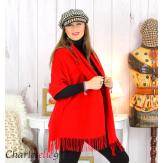 Étole châle laine cachemire mixte hiver STELLA rouge Écharpe cachemire femme
