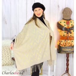 Écharpe étole châle femme hiver franges or beige 2808 Accessoires mode femme