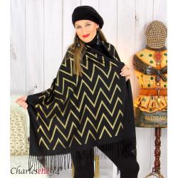 Écharpe étole châle femme hiver franges or noir 2808 Accessoires mode femme