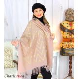 Écharpe étole châle femme hiver franges or rose 2808 Accessoires mode femme