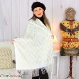 Écharpe étole châle femme hiver franges or écru 2808 Accessoires mode femme