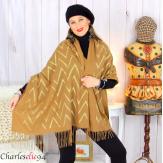Écharpe étole châle femme hiver franges or camel 2808 Accessoires mode femme
