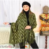 Écharpe étole châle femme hiver franges or kaki 2808 Accessoires mode femme
