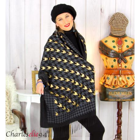 Écharpe étole châle femme hiver franges doré noir 2807 Accessoires mode femme