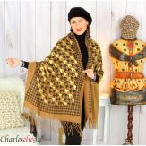 Écharpe étole châle femme hiver franges doré camel 2807 Accessoires mode femme