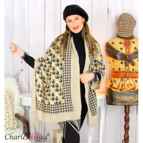 Écharpe étole châle femme hiver franges doré taupe 2807 Accessoires mode femme