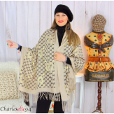 Écharpe étole châle femme hiver franges doré beige 2810 Accessoires mode femme