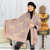 Écharpe étole châle femme hiver franges doré rose 2810 Accessoires mode femme