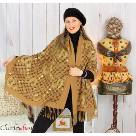 Écharpe étole châle femme hiver franges doré camel 2810 Accessoires mode femme