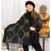 Écharpe étole châle femme hiver franges doré noir 2810 Accessoires mode femme