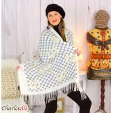 Écharpe étole châle femme hiver franges doré écru 2810 Accessoires mode femme