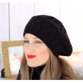 Bonnet béret femme hiver cachemire laine luxe noir lx49 Béret femme