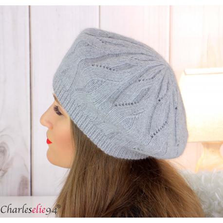 Bonnet béret femme hiver cachemire laine luxe gris lx49 Béret femme