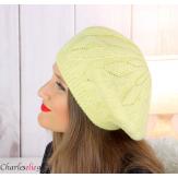 Bonnet béret femme hiver cachemire laine luxe jaune lx49 Béret femme